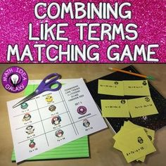 Get students great practice with this engaging combining like terms matching game. Students will get hands-on practice simplifying expressions and solving expressions by combining like terms. Great for math stations & centers. Math Stations, Math Centers, Cooperative Learning Groups, Simplifying Expressions, Combining Like Terms, Dots Game, Math Classroom, Classroom Ideas, Secondary Math
