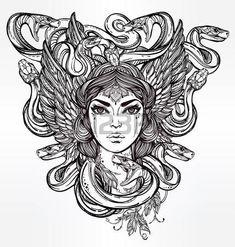 diosa griega: Dibujado a mano obras de arte hermoso de la Medusa Portriat - un espíritu serpiente femenina en la mitología griega. Libros de alquimia, religión, espiritualidad, ocultismo, arte del tatuaje, colorantes. Ilustración vectorial aislado.