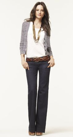 I think I could pull this off. A white tee, long necklace, gray sweater, flare jeans and cute brown belt.