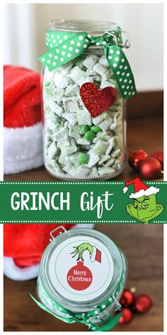 Peppermint Grinch Muddy Buddies Grinch Gift Idea for Christmas-Fill a jar with this Grinch mix (peppermint muddy buddies) and add a red heart and this cute tag and you've got a fun gift for friends or neighbors! Office Christmas Gifts, Neighbor Christmas Gifts, Cute Christmas Gifts, Christmas Jars, Grinch Christmas, Christmas Gifts For Friends, Handmade Christmas Gifts, Neighbor Gifts, Xmas Gifts