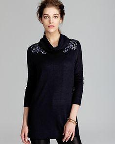 Magaschoni Embellished Shoulder Cowlneck Sweater