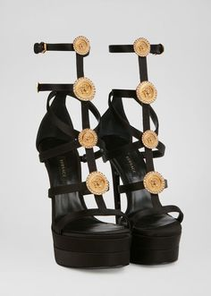 Medusa Cage Sandals from Versace Women's Collection. Crafted in elegant satin, these platform sandals are embellished with heritage cage straps and crystal-enriched Medusa hardware. Caged Sandals, Black Sandals, Women's Shoes Sandals, Shoe Boots, Shoes Sneakers, Fancy Shoes, Me Too Shoes, Flat Shoes, Nylons