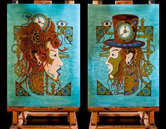 Mrs. & Mr. Steam are inspired by steampunk, art nouveau and ethnic tattoo compositions.