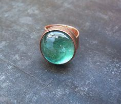 Copper and Glass Ring by Mary Bulanova