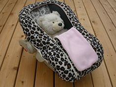 Polartec Fleece Baby Infant Car Seat Cover - The NUZZLER - Warm for Winter - Light Leopard and Pink REVERSIBLE on Etsy, $50.00