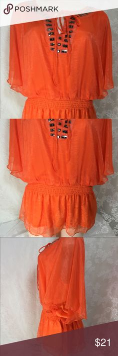 Orange blouse with rhinestones. Orange blouse with rhinestones. Beautiful and sexy blouse. Sheer and lightweight fabric. 100% Polyester. Elastic waistband for perfect fit. High quality. #002 C O C Tops Blouses