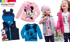 Ab heutegibt es vielesüße Neuheitenmit Mickey und Minnie bei Ernsting's family!Für Jungs gibt es unter anderem Pullover, Shirts, Hosenund eine richtig coole Weste mit Mickey-Motiv und Öhrchen. Für Mädchen gibt es jede Menge niedliche Sachen mit Minnie-Aufdruck.