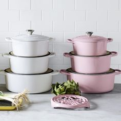 Store pots with lids on, with the lids upside down. This will put the handle inside the pan and allows for stacking. It will be a game changer in your cupboard. Toy Kitchen, Kitchen Pantry, Kitchen Items, Kitchen Utensils, Kitchen Gadgets, Kitchen Decor, Le Creuset Cookware, Cookware Set, Le Creuset Pink