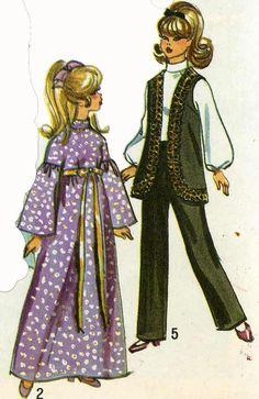 Barbie Doll Clothing PATTERN 9097 Julia Maddie Mod 11 1/2 inch dolls 1960s quality PHOTOCOPY Wedding Gown Veil Pants Vest Cape Mini skirt by BlondiesSpot on Etsy