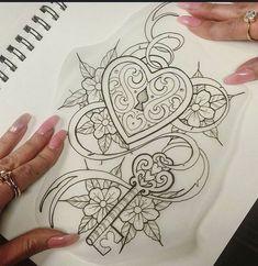 Heart locket with key tattoo joss tatuaje llave, tatuajes de hermanas, tatu Hand Tattoos, 1 Tattoo, Best Sleeve Tattoos, Sleeve Tattoos For Women, Tatoo Art, Body Art Tattoos, Tattoo Drawings, Garter Tattoos, Crown Tattoos