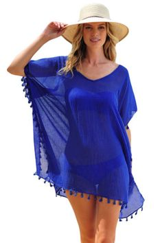 Style: Sexy Occasion: Summer, Beach Pattern: Solid Decoration: Tassel Package Contents: 1 X Piece Brand: None Item Type: Swimwear Category: Beach Dresses Detail Pom Pom Tassel Hem Gauze Cover up in di Look Fashion, Fashion Outfits, Womens Fashion, Ropa Interior Boxers, Beach Wardrobe, Beach Cover Ups, Swimsuit Cover Ups, Bathing Suit Cover Up, Beach Dresses