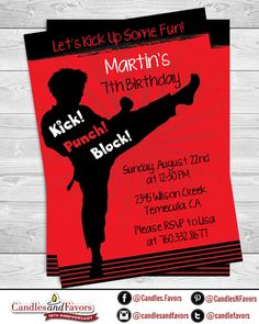 Printable Modern Karate Birthday Invitation Martial Arts Tae