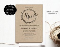 Engagement Invite Templates Extraordinary Printable Engagement Invitation Rustic Editable Template  Printable .