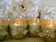 Mom's Idea - Caitlin, the votive holders/mason jars etc...can be dipped in glitter for reception table decor. Weddings Wedding Candles Candle Holder Votives by KPGDesigns, $49.95