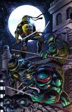 Ahh the classic turtles Tmnt Comics, Arte Dc Comics, Spawn Comics, Teenage Ninja Turtles, Ninja Turtles Art, Turtles Forever, Martial, Cartoon Turtle, Renaissance Artists