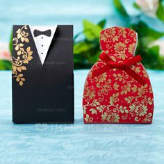 Favor Holders - $7.99 - Tuxedo & Gown Favor Boxes With Ribbons (Set of 12) (050028638) http://jjshouse.com/Tuxedo-Gown-Favor-Boxes-With-Ribbons-Set-Of-12-050028638-g28638
