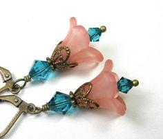 Salmon and Blue Zircon Flower Earrings Beaded by jewelrybyNaLa, $23.00