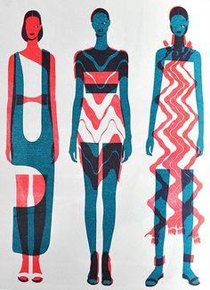 fashion illustration figure screen print  clothing