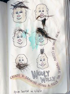 Create a drawing using a piece of your hair, from Wreck This Journal.