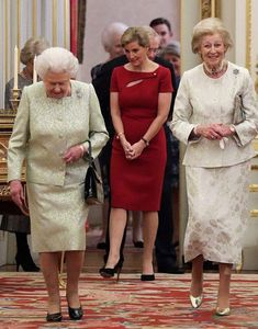 (L-R) Queen Elizabeth II, Sophie, Countess of Wessex and Princess Alexandra are seen during a reception to celebrate the patronages of the Princess, in the year of her 80th birthday at Buckingham Palace on November 29, 2016 in London, England.