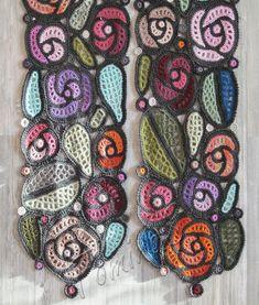 Crochet Wool, Form Crochet, Crochet Motif, Hand Crochet, Hand Knitting, Crochet Flower Scarf, Crochet Scarves, Crochet Flowers, Crocheted Scarf