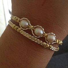 Fresh Water Pearl Bracelet Wire Wrapped by AmbersCrafts2 on Etsy, $32.50