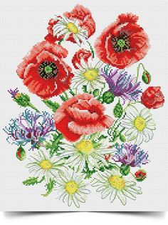 Cross Stitching, Cross Stitch Embroidery, Cross Stitch Patterns, Cross Stitch Rose, Cross Stitch Flowers, Poppy Bouquet, Watercolor Drawing, Crafty Craft, Vintage Flowers
