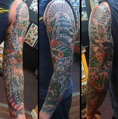 Amazing Male Traditional Sleeve Tattoos