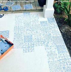 Renaissance Tile Stencils Set B Painted Concrete Steps, Painted Cement Patio, Stenciled Concrete Floor, Stenciled Table, Painting Concrete, Concrete Patio, Tile Stencils, Large Stencils, Floor Stencil