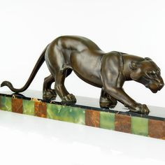 Large 1930s French Art Deco Panther Sculpture by R Rochard Signed   eBay