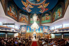 Orthodox Greek Toronto Wedding Photography, beautiful Orthodox Greek Church in Toronto panoramic shot, colourful ceremony.