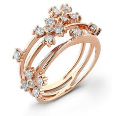 14k Floral Diamond R beauty bling jewelry fashion