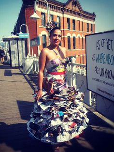 DIY meets street style in this dress made entirely out of Vogue pages