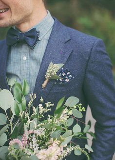 chambray groom | bowtie | via: 100layercake