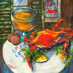 Crab and Crackers by Louisiana artist Dianne Parks