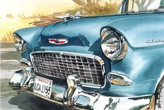 Watercolor painting of the front of a blue 55 Chevy up-close. Cool Wall Art by Bill Drysdale from Great BIG Canvas. Wall Art Prints, Fine Art Prints, Canvas Prints, Door Signage, Romance, Car Painting, Canvas Frame, Big Canvas, Chevy