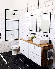 Our bathroom addition reveal + tips on choosing a builder — Mountainside Home black white brown bathroom I fekete-fehér-barna fürdő Brown Bathroom, Downstairs Bathroom, Bathroom Renos, Remodel Bathroom, Black And White Bathroom Ideas, Black And White Bathroom Floor, Ikea Hack Bathroom, Small Bathroom With Tub, Ikea Bathroom Vanity