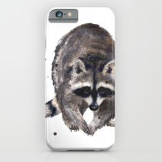 #racoon #lover #gift #watercolor #painting #animal #woodland #wildlife #art #cute #funny #wilderness #Society6 #stripes #phonecase #phone #cases #iphone6 #slim #iPhone #cover