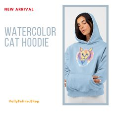 Ease into the cooler fall weather with this watercolor cat hoodie, complete with a cozy pocket to keep your hands warm, too! #catproducts #hoodie #womensouterwear #fall
