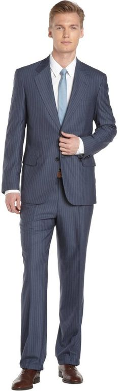 Striped Blue Wool Suit With Pleated Pants Expensive Suits, Pleated Pants, Blue Wool, Blue Stripes, Suit Jacket, Buttons, Long Sleeve, Sleeves, How To Wear