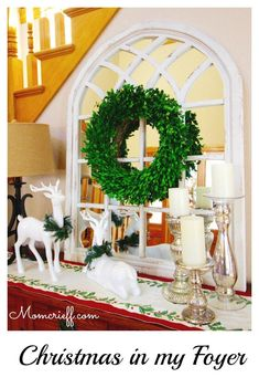 Christmas DIY: Come in! Enjoy my Ch Come in! Enjoy my Christmas Foyer. White Christmas theme with my mercury glass candle holders chippy mirrored window and boxwood wreath - Momcrieff Thanksgiving Mantle, Thanksgiving Decorations, Xmas Decorations, Xmas Theme, Christmas Themes, White Christmas, Christmas Diy, Christmas Fireplace, Christmas Projects