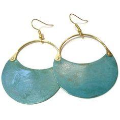 Patina Copper Hoop Earrings Green Blue Verdigris Riveted Earrings Cold... (810 CZK) ❤ liked on Polyvore featuring jewelry, earrings, green hoop earrings, copper jewelry, earring jewelry, green earrings and blue hoop earrings