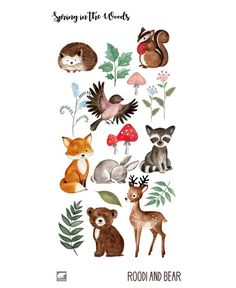 Watercolor Woodland Clipart hand drawn and painted Woodland Creatures, Woodland Animals, Clipart, Retro Logos, Vintage Logos, Racoon, Flower Doodles, Elements Of Art, Oeuvre D'art
