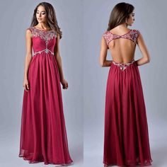 Gorgeous Prom Dresses Sheer Crew Neck Cap Sleeve Cheap Long Prom Gowns Crystals Backless Chiffon Wedding Evening Party Dress For Women 2015 Online with $94.42/Piece on Sarahbridal's Store | DHgate.com