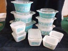 20 Pc Set Pyrex Amish Butterprint Casseroles Refrigerator Dishes Lids Aqua White