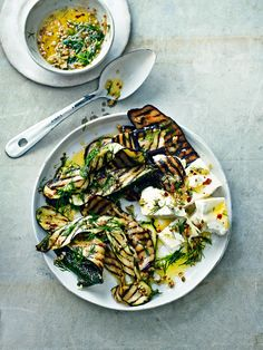 Bill Granger recipe: Aubergine and courgette salad with feta and a spicy preserved-lemon dressing