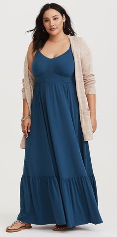 """I'm not a huge fan of maxi dresses because I'm only 5'5"""" but I love the top half of this dress. Paired with a cardigan like that it's definitely something I would wear all the time."""
