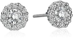 14k White Gold Diamond Solitaire Halo Stud Earrings (3/4cttw, K-L Color, I1-I2 Clarity)