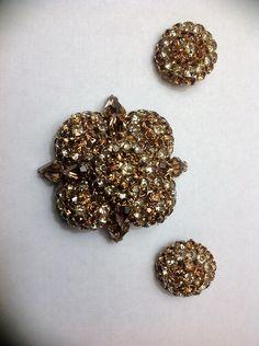 Joseph Warner · Warner Golden Amber Rhinestones Brooch & Clip Earrings