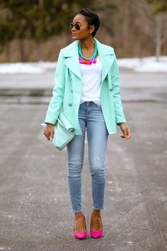 mint coat , pink pumps